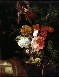Willem van Aelst | Flowers in a Silver Vase with a Snail and a Butterfly | Giclée Canvas Print