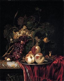 Willem van Aelst | A Still Life of Peaches on a Pewter Plate | Giclée Paper Print