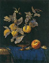 Willem van Aelst | Glass Vase with Branches Bearing Fruit | Giclée Canvas Print