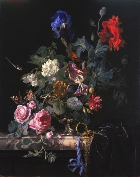 Flowers in a Silver Vase, 1663 | Willem van Aelst | Painting Reproduction