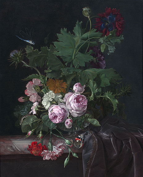Peonies, Carnations, Thistles and other Flowers in a Glass Vase on a Partially Draped Table, 1677   Willem van Aelst   Giclée Canvas Print