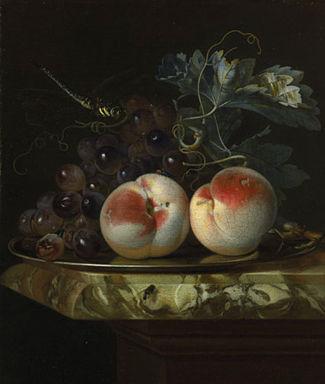 A Still Life with Two Peaches and Bunch of Grapes on a Silver Plate set on a Marble Slab, 1664 | Willem van Aelst | Giclée Canvas Print