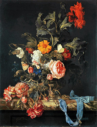 Vase of Flowers with Pocket Watch, 1663 | Willem van Aelst | Giclée Canvas Print