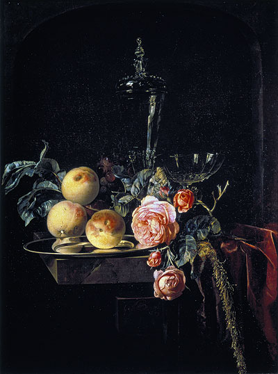 Roses and Peaches, 1659 | Willem van Aelst | Giclée Canvas Print