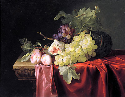 Still Life with Grapes, Plums, Figs and a Melon on a Partly Draped Stone Ledge, 1653 | Willem van Aelst | Painting Reproduction