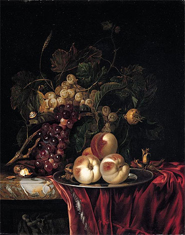 A Still Life of Peaches on a Pewter Plate, undated | Willem van Aelst | Giclée Canvas Print