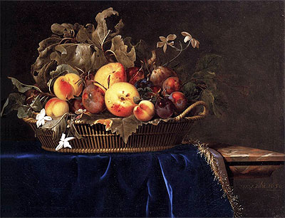 Still Life with a Basket of Fruit on a Marble Ledge, 1650 | Willem van Aelst | Giclée Canvas Print