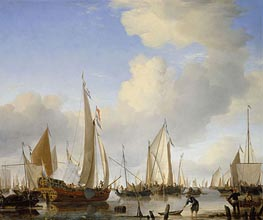 Willem van de Velde | A Calm: A States Yacht Under Sail Close to the Shore, with Many Other Vessels | Giclée Canvas Print