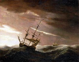 Willem van de Velde | An English Ship at Sea Lying-To in a Gale | Giclée Canvas Print