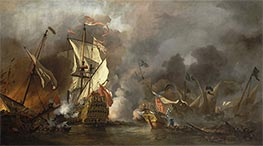 Willem van de Velde   An English Ship in Action with Barbary Vessels   Giclée Canvas Print
