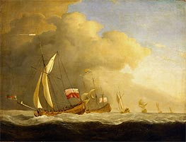 Willem van de Velde   English Royal Yachts at Sea, in a Strong Wind in Company with a Ship Flying the Royal Standard   Giclée Canvas Print