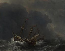 Willem van de Velde | Three Ships in a Gale, 1673 | Giclée Canvas Print