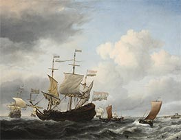 Willem van de Velde | A Dutch Flagship Coming to Anchor, 1672 | Giclée Canvas Print
