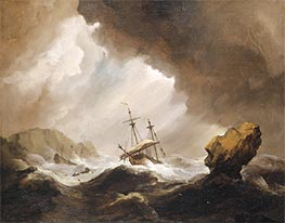 Willem van de Velde | An English Ship Running onto a Rocky Coast in a Gale, c.1690 | Giclée Canvas Print