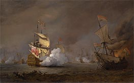 Willem van de Velde | Sea Battle of the Anglo-Dutch Wars, c.1700 | Giclée Canvas Print