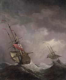 Willem van de Velde | An English Ship at Sea Running In a Gale, c.1700 | Giclée Canvas Print