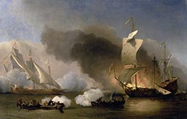 Willem van de Velde | An Action between English Ships and Barbary Corsairs | Giclée Canvas Print