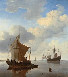 Willem van de Velde | A Calm - A Smalschip and a Kaag at Anchor | Giclée Canvas Print