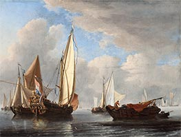 Willem van de Velde | A Yacht and Other Vessels in a Calm, 1671 | Giclée Canvas Print