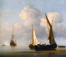 Willem van de Velde | A Calm Sea with a Kaag and a Boeier Close in to the Shore, Undated | Giclée Canvas Print