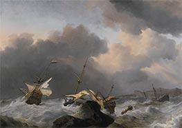 Willem van de Velde | The Jupiter and another Dutch Ship Wrecked on a Rocky Coast | Giclée Canvas Print