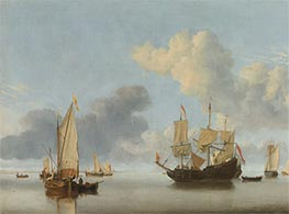 Willem van de Velde | A Dutch Ship at Anchor Drying Sails and a Kaag under Sail, Undated | Giclée Canvas Print
