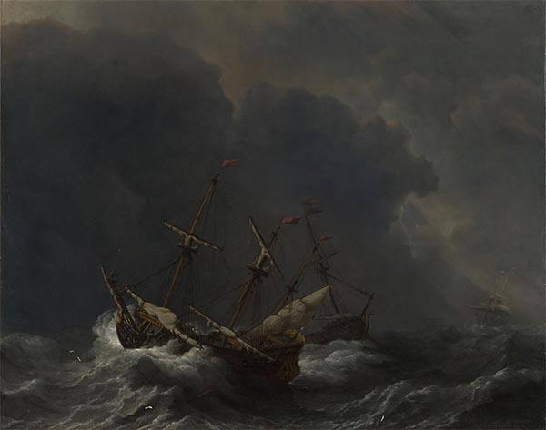 Three Ships in a Gale, 1673 | Willem van de Velde | Painting Reproduction