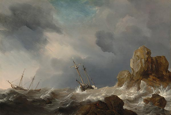 Ships in a Gale, 1660 | Willem van de Velde | Painting Reproduction