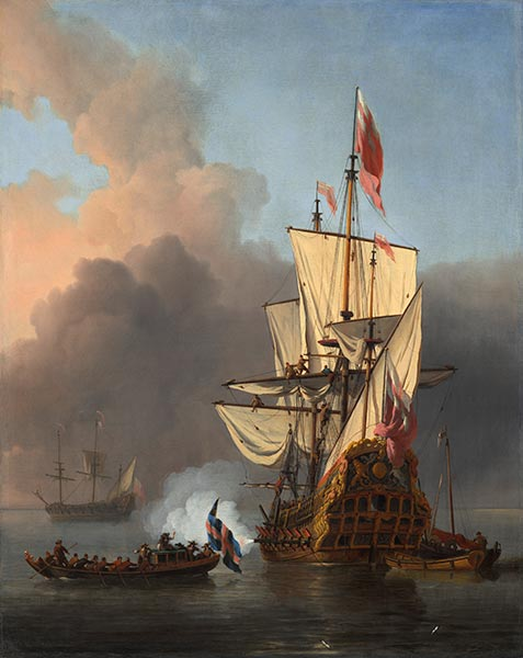 An English Warship Firing a Salute, 1673 | Willem van de Velde | Painting Reproduction