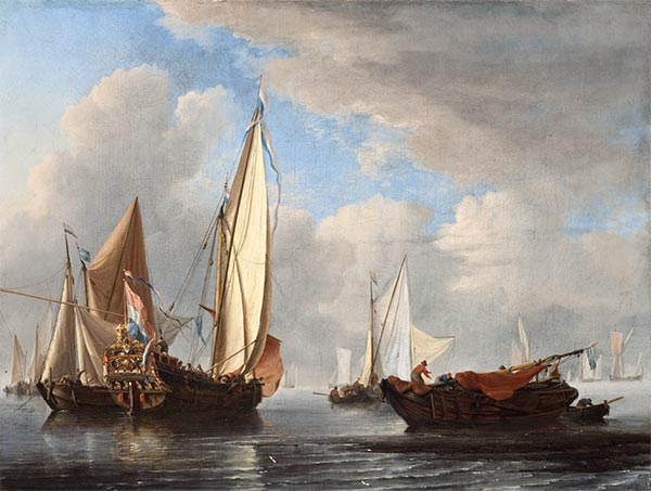 A Yacht and Other Vessels in a Calm, 1671 | Willem van de Velde | Giclée Canvas Print