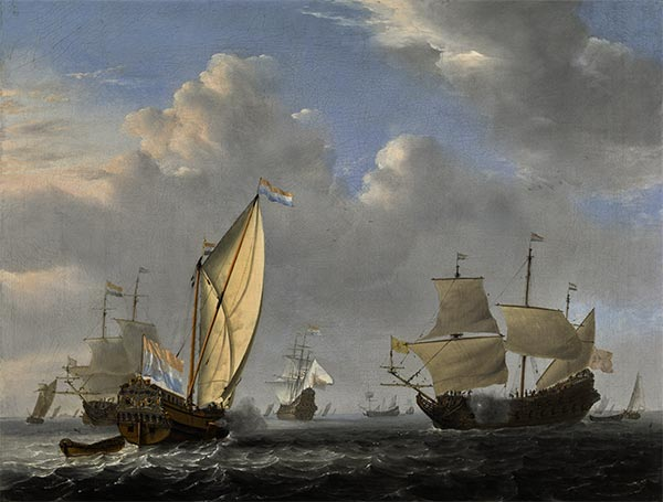 A States Yacht from the Admiralty of Amsterdam, 1654 | Willem van de Velde | Giclée Canvas Print