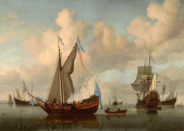 The English Royal Yacht Mary about to Fire a Salute, 1660 | Willem van de Velde | Giclée Canvas Print