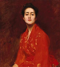 William Merritt Chase | Girl in Japanese Dress, c.1895 | Giclée Canvas Print