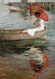 William Merritt Chase | Woman with Crimson Parasol | Giclée Canvas Print
