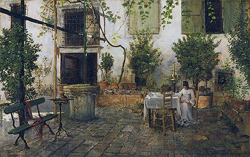 Courtyard in Venice, 1877 | William Merritt Chase | Giclée Canvas Print