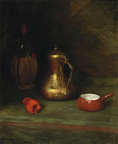 Still Life with Bottle, Carafe, Pot and Red Pepper, c.1905   William Merritt Chase   Painting Reproduction