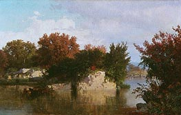 William Trost Richards | Trees along Stream in Fall | Giclée Canvas Print