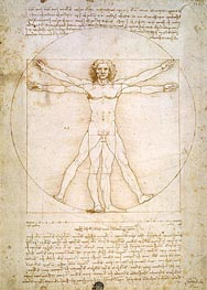 Leonardo da Vinci | Vitruvian Man (The Proportions of the Human Figure), c.1492 | Giclée Paper Print
