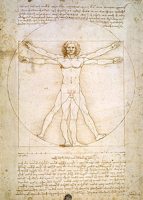 Vitruvian Man (The Proportions of the Human Figure), c.1492 | Leonardo da Vinci | Giclée Paper Print